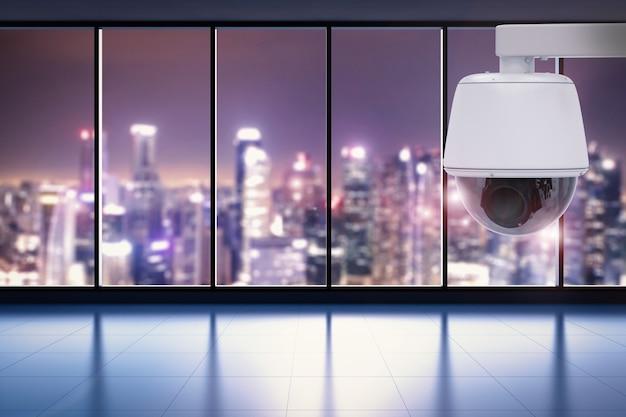3d-rendering-überwachungskamera oder cctv-kamera im büro