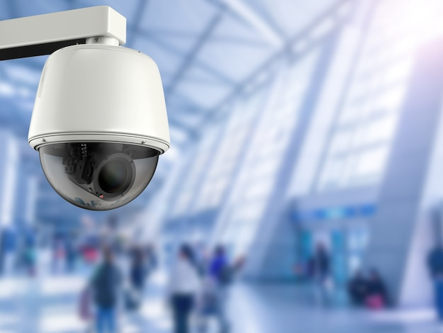 3d-rendering-überwachungskamera oder cctv-kamera im flughafen