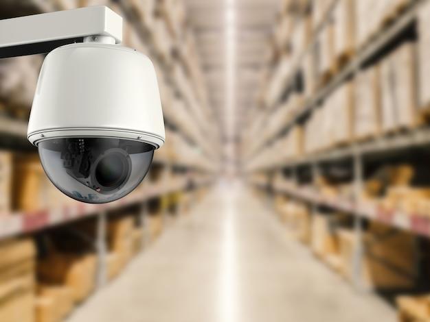 3d-rendering-überwachungskamera oder cctv-kamera im laden