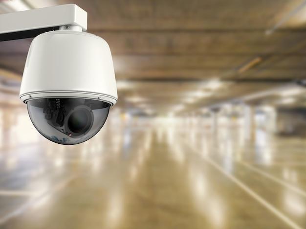 3d-rendering-überwachungskamera oder cctv-kamera im parkplatz