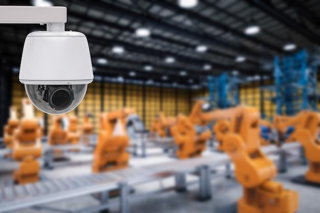 3d-rendering-überwachungskamera oder cctv-kamera in der fabrik