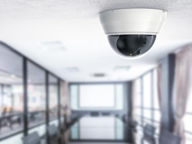 3d-rendering-überwachungskamera oder cctv-kamera mit bürohintergrund