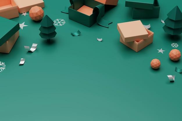 3d rendering unboxing geschenkboxen. öffnen sie leere geschenkbox und zubehör, on-line-einkaufskonzept.