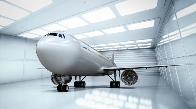 3d-rendering verkehrsflugzeug im weißen und glänzenden hangar