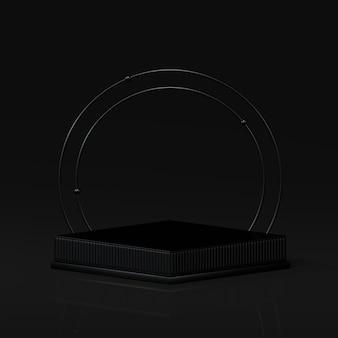 3d-rendering verleiht podium in harmonie mit schwarzer farbe.