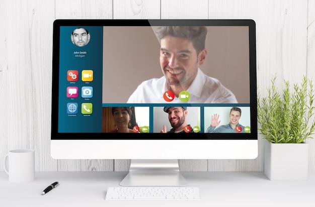 3d-rendering-videokonferenzsoftware auf dem computer.
