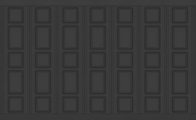 3d-rendering. vintage-design-wandbeschaffenheitshintergrund des schwarzen klassischen quadratluxusmusters hölzerner.