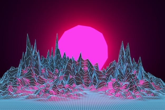 3d-rendering, virtuelle realität, sonnenuntergang zwischen den bergen.