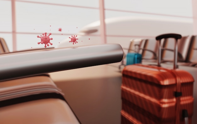 3d rendering virus covid-19 auf koffertasche und flug, reiserücktritt pandemie neuartige krankheit, quarantäne.