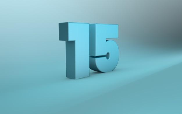 3d-rendering von 15 nummern 3d-schriftzug fünfzehn nummern