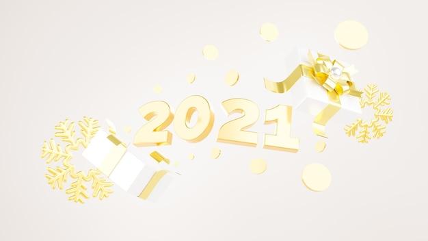 3d-rendering von 2021, der aus der geschenkbox bei neujahrsfest schwimmt