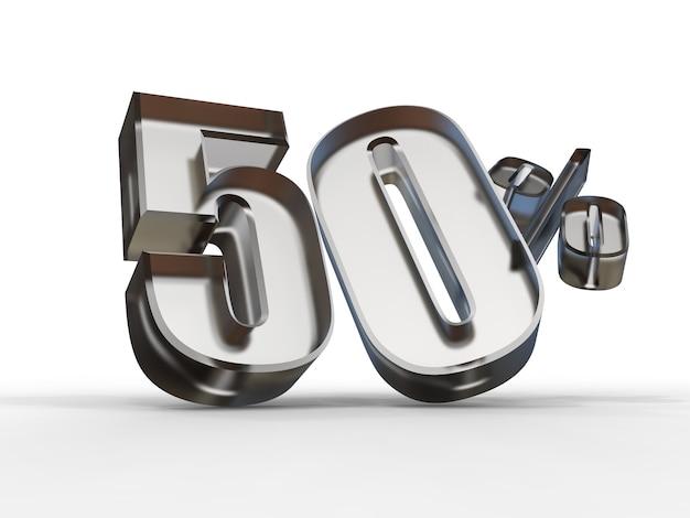 3d-rendering von 50 prozent des rabattverkaufstextes im glas lokalisiert auf weißem hintergrund