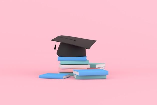 3d-rendering von abschlusskappe und büchern auf rosa hintergrund.