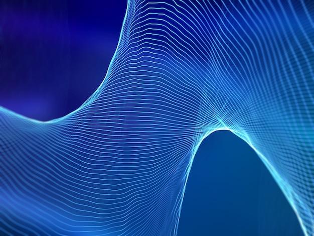 3d-rendering von abstrakten schallwellen. hintergrund der digitalen technologie