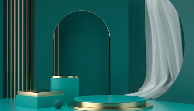 3d-rendering von abstrakten szenen und geometrischen formen podium