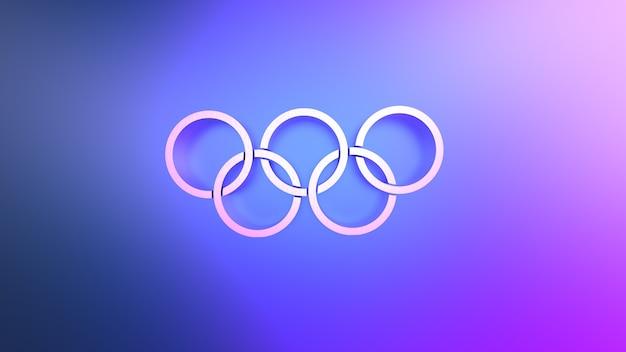 3d-rendering von abstrakten verknüpften kreisen auf blauem hintergrund