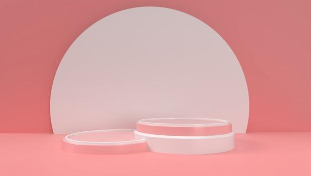 3d-rendering von abstrakter geometrie, szene, podium, bühne und anzeige. mit rosa farbton.