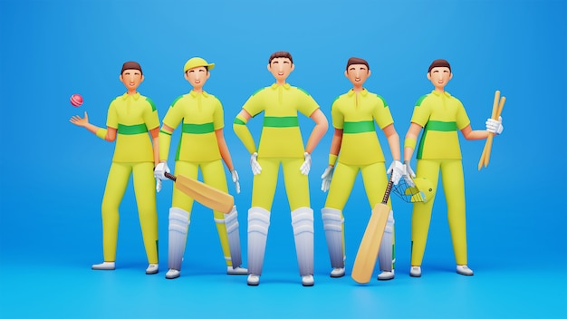 3d-rendering von australien cricket player team wie als schlagmann, bowler, wicket keeper, fielder auf blauem hintergrund.