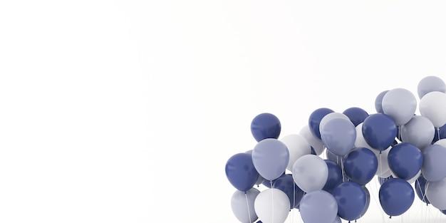 3d-rendering von ballons lokalisiert auf weißem hintergrund.