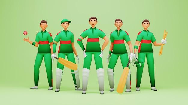 3d-rendering von bangladesch cricket-spieler-team auf grünem hintergrund.