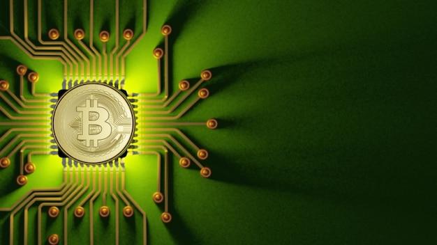 3d-rendering von bitcoin auf dem ic-motherboard für investitionen