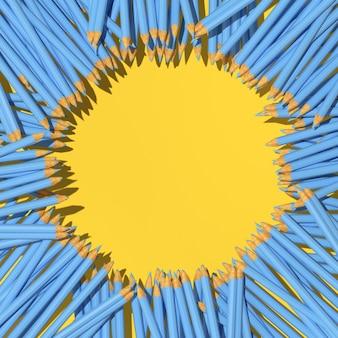 3d-rendering von blauen bleistiften auf gelbem hintergrund, minimalkonzept, zurück zur schule.