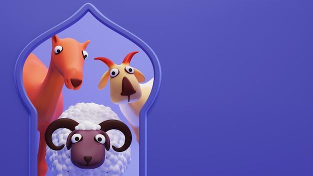 3d-rendering von cartoon-schafe mit ziege, kamel-tier auf blauem hintergrund und textfreiraum.