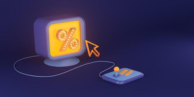 3d-rendering von computerspielen und prozentualem text.