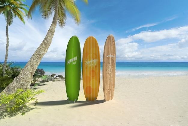 3d-rendering von drei bunten surfbrettern an einem tropischen strand