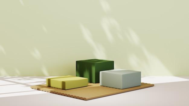 3d-rendering von drei grün getönten quadratischen podien zur anzeige des produkthintergrunds. mockup für showprodukt.