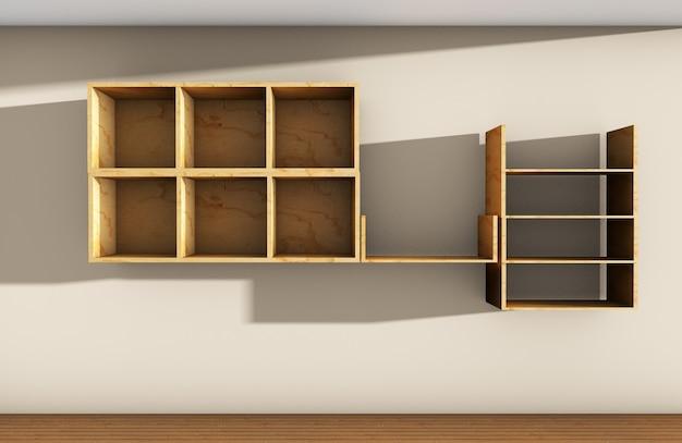 3d-rendering von drei holzregalen auf wandhintergrund