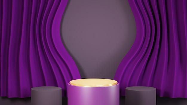3d-rendering von drei lila podien für anzeigezwecke der hintergrund ist mit lila vorhängen hintergrund dekoriert. mockup für showprodukt.