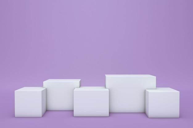 3d-rendering von einfachen abstrakten geometrischen figuren lokalisiert auf weißem hintergrund leeres minimales designkonzept bühne für preisverleihung auf website in moderner lila form
