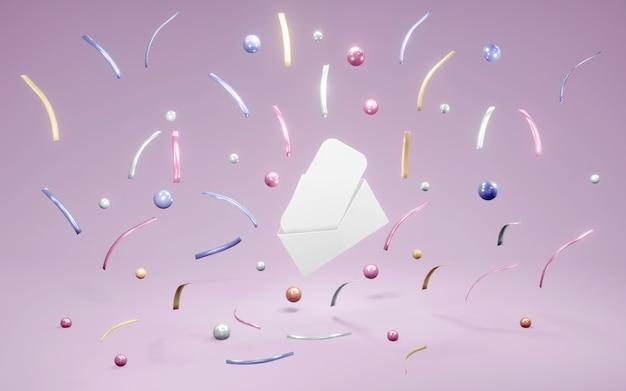 3d-rendering von envilope offen mit leerer karte im inneren mit konfetti-element herum Premium Fotos