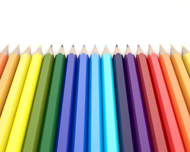 3d-rendering von farbstiften auf weißem hintergrund