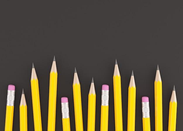 3d-rendering von gelben bleistiften auf schwarzem hintergrund