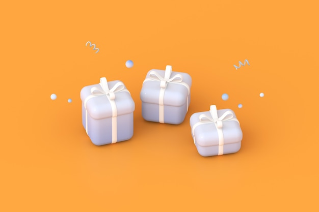 3d-rendering von geschenkboxen auf orangem hintergrund.