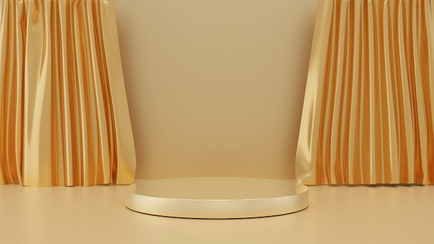 3d-rendering von goldsockelstufen mit vorhang auf goldhintergrund, goldene kreisbühne, abstraktes minimalkonzept, leerraum, einfaches sauberes design, minimalistisches luxusmodell