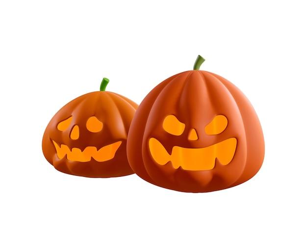 3d-rendering von halloween-kürbissen isoliert
