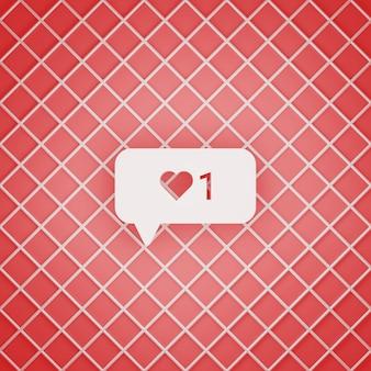 3d-rendering von instagram 1 wie benachrichtigungskonzept
