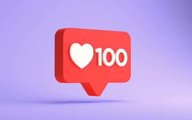 3d-rendering von instagram 100 likes benachrichtigung isoliert