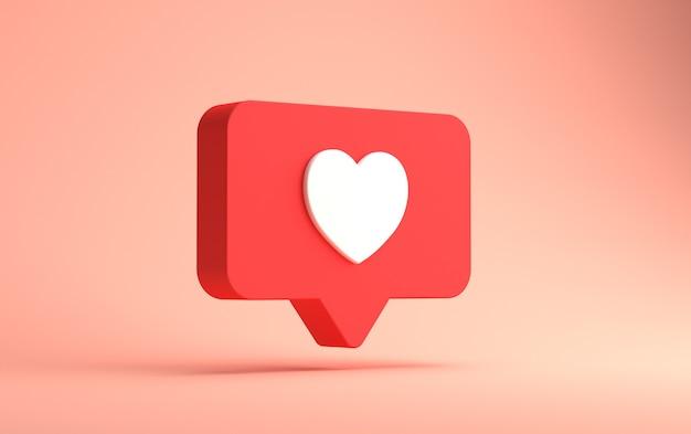 3d-rendering von instagram wie benachrichtigung isoliert