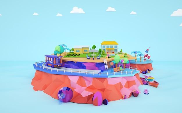3d-rendering von isometrischen wohn-cartoon-gebäuden auf einer insel