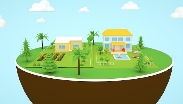 3d-rendering von isometrischen wohngebäuden