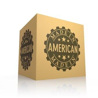3d-rendering von karton mit made in america