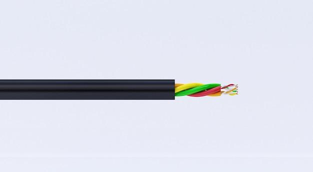 3d-rendering von kupfer-elektrodraht. kabel in mehrfarbiger isolierung