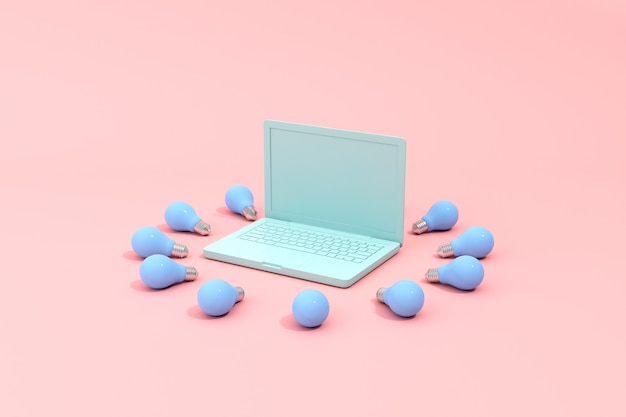 3d-rendering von laptop und glühbirnen mit leerem bildschirm.