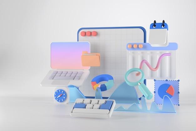 3d-rendering von laptop und infografik.