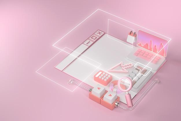 3d-rendering von laptop und website.