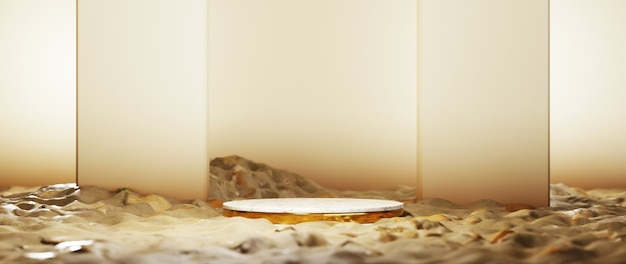 3d-rendering von leerem produkthintergrund für hintergrundmode und cremekosmetikdekorationen. moderner leerer podesthintergrund für luxusprodukt.